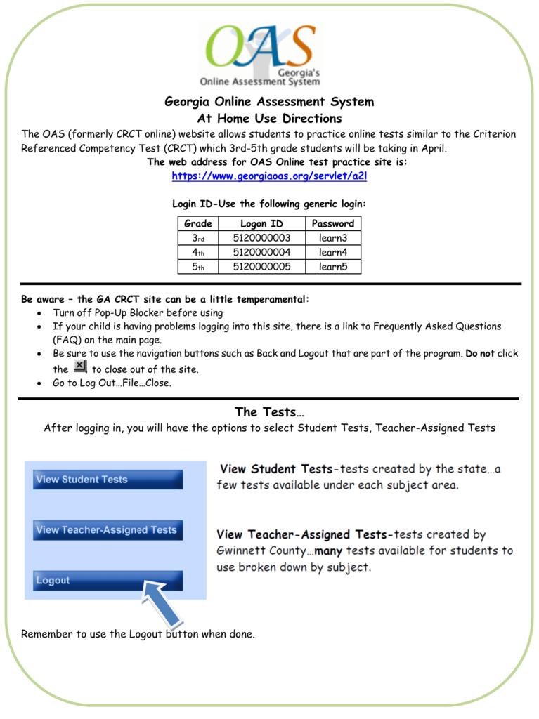 Georgia Online Assessment System