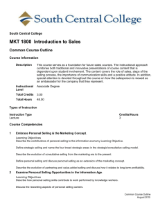 MKT 1800 Introduction to Sales - South Central College eCatalog