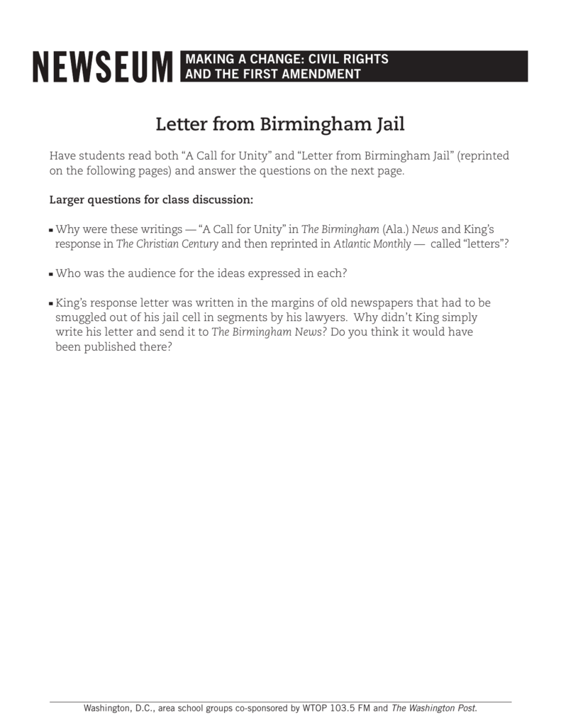"letter from birmingham jail essay assignment ""letter from a birmingham jail"" outline i introduction king's thesis: reasonable refutation of the white clergymen's criticism of his direct action-nonviolent resistance campaign as ""unwise and untimely."