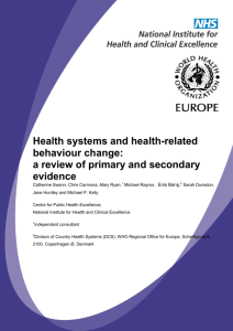 Health systems and health-related behaviour change