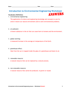 Introduction to Environmental Engineering Worksheet Answers