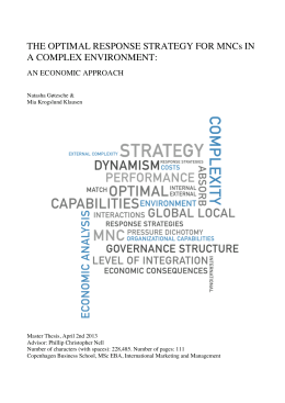 THE OPTIMAL RESPONSE STRATEGY FOR MNCs IN A COMPLEX