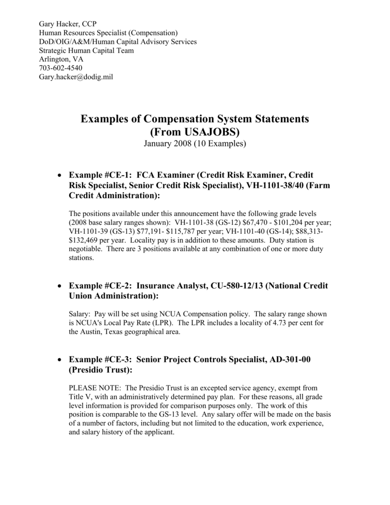 Examples Of Compensation System Statements Ipma Hr