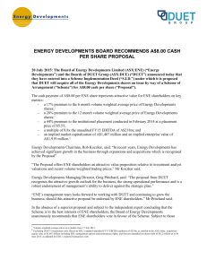 ene board recommends a$8.00 cash per share proposal