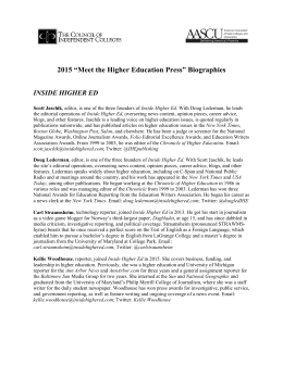 "2015 ""Meet the Higher Education Press"" Biographies"