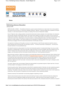 Rethinking Science Education News Page 1 of 2 News: Rethinking