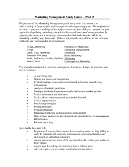 Marketing Management Study Guide