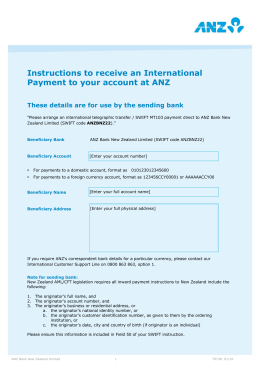 Instructions to receive an International Payment to your account at ANZ