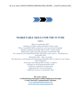 MARKETABLE SKILLS FOR THE FUTURE