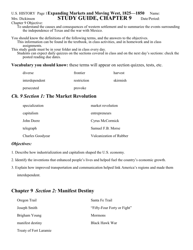 Worksheets Manifest Destiny Worksheet study guide chapter 9