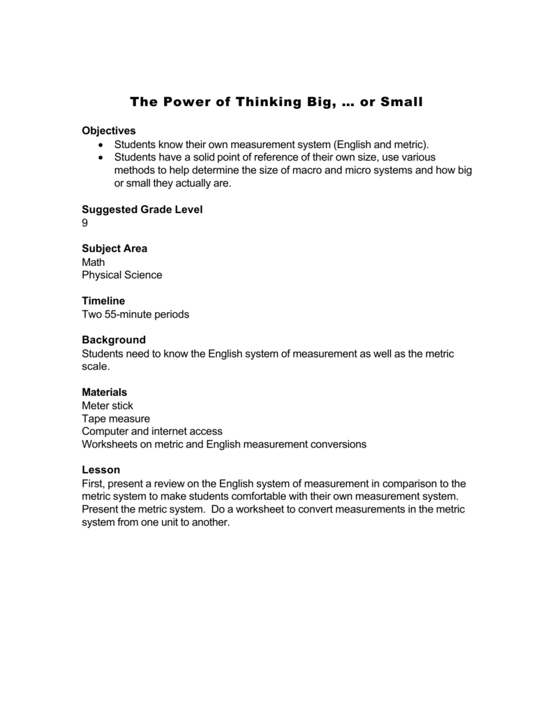 worksheet Metric Mania Worksheet the power of thinking big or small rtf