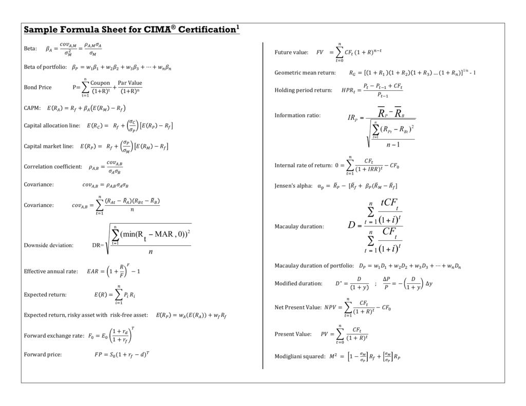 sample formula sheet for cima certification