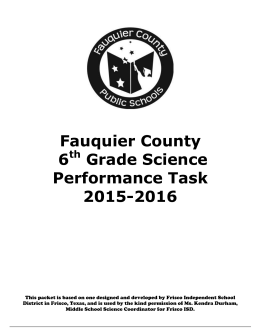 FCPS Sixth Grade Performance Task