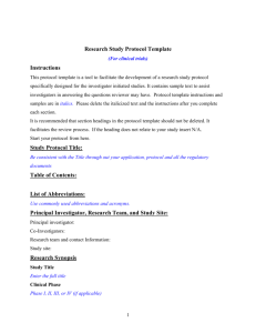 Research Study Protocol Template
