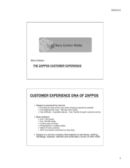 CUSTOMER EXPERIENCE DNA OF ZAPPOS