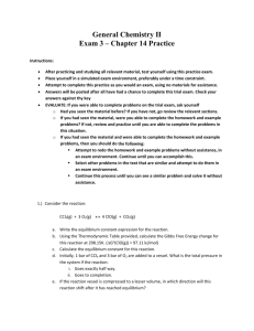 General Chemistry II Exam 3 – Chapter 14 Practice