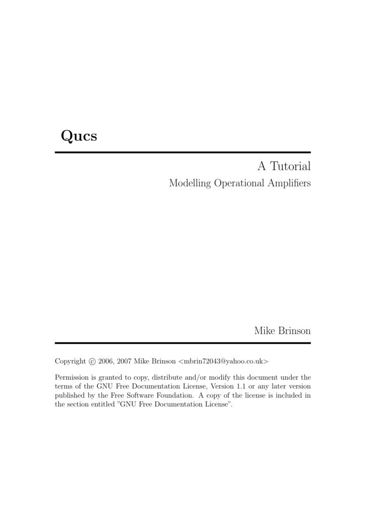 Qucs - A Tutorial