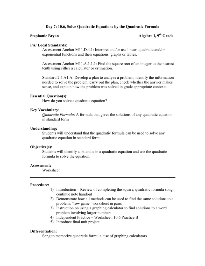 Worksheets The Quadratic Formula Worksheet day 7 10 6 solve quadratic equations by the formula