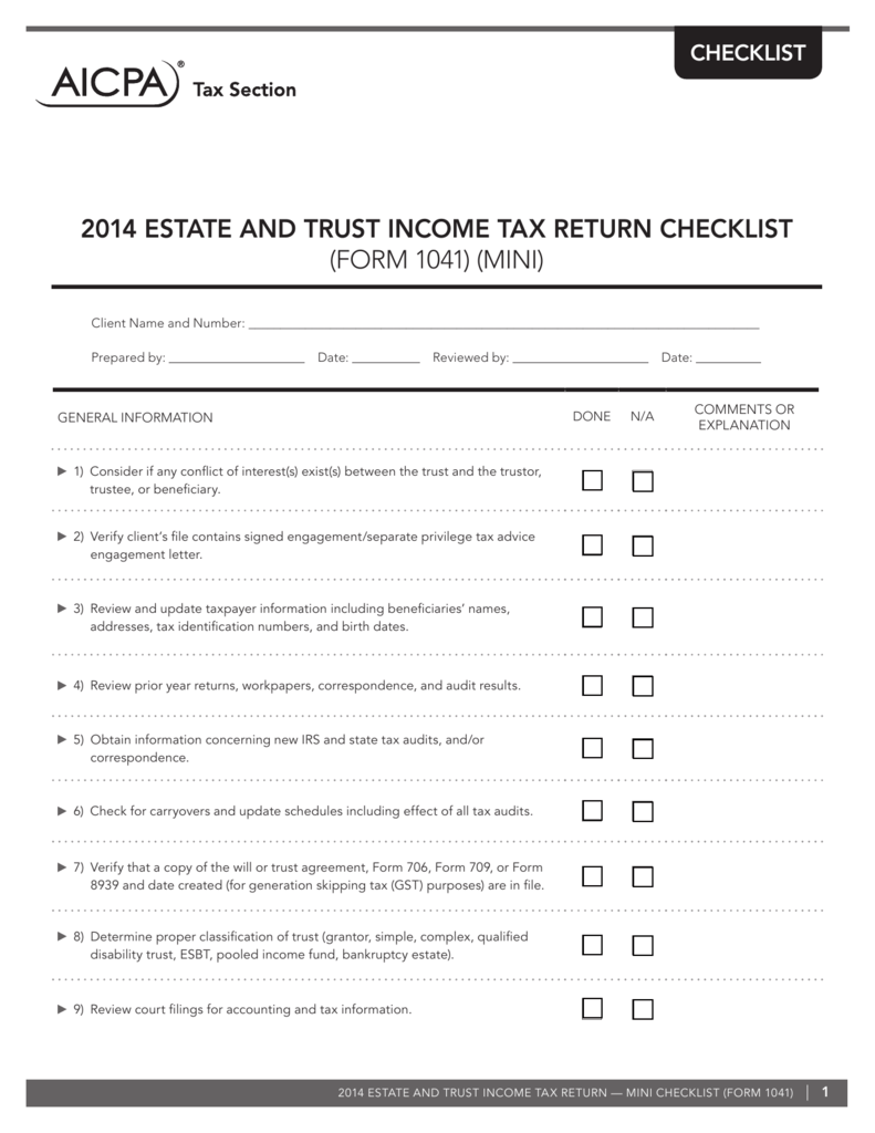 2014 estate and trust income tax return checklist (form 1041