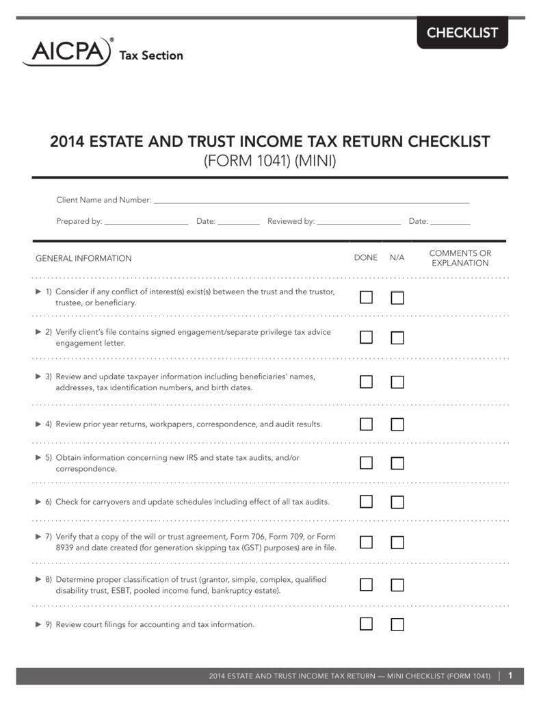 2014 estate and trust income tax return checklist form 1041 falaconquin