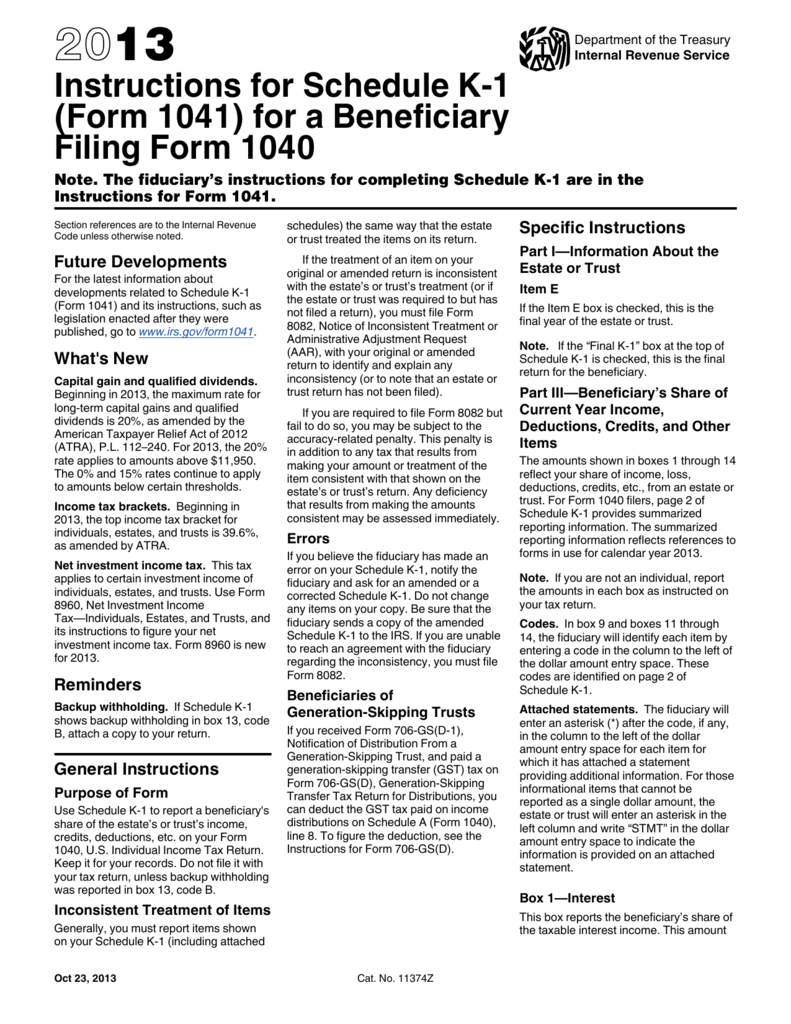 Instructions for Schedule K-1 (Form 1041) for a Beneficiary Filing