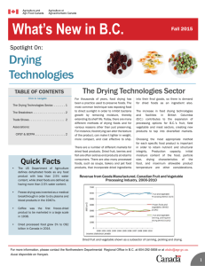 What's New in British Columbia - Spotlight On: Drying Technologies