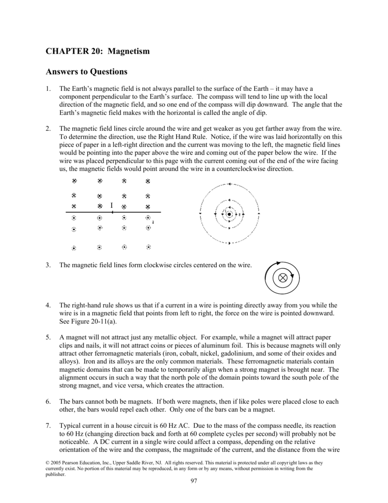 Chapter 20 Magnetism Answers To Questions Magnetic Ke Wiring Diagram