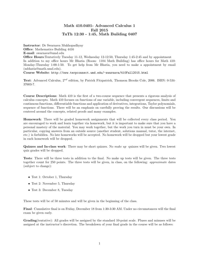 math 410 0401 advanced calculus 1 fall 2015 tuth 12 30 rh studylib net advanced  calculus patrick fitzpatrick solutions advanced calculus second edition by  ...