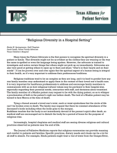 Religious Diversity in a Hospital Setting by Kirstin M. Springmeyer