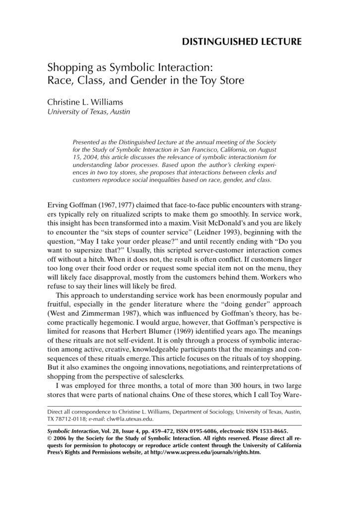 Shopping As Symbolic Interaction Race Class And Gender In The