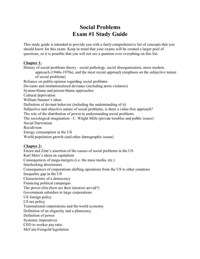 social problems exam #1 study guide