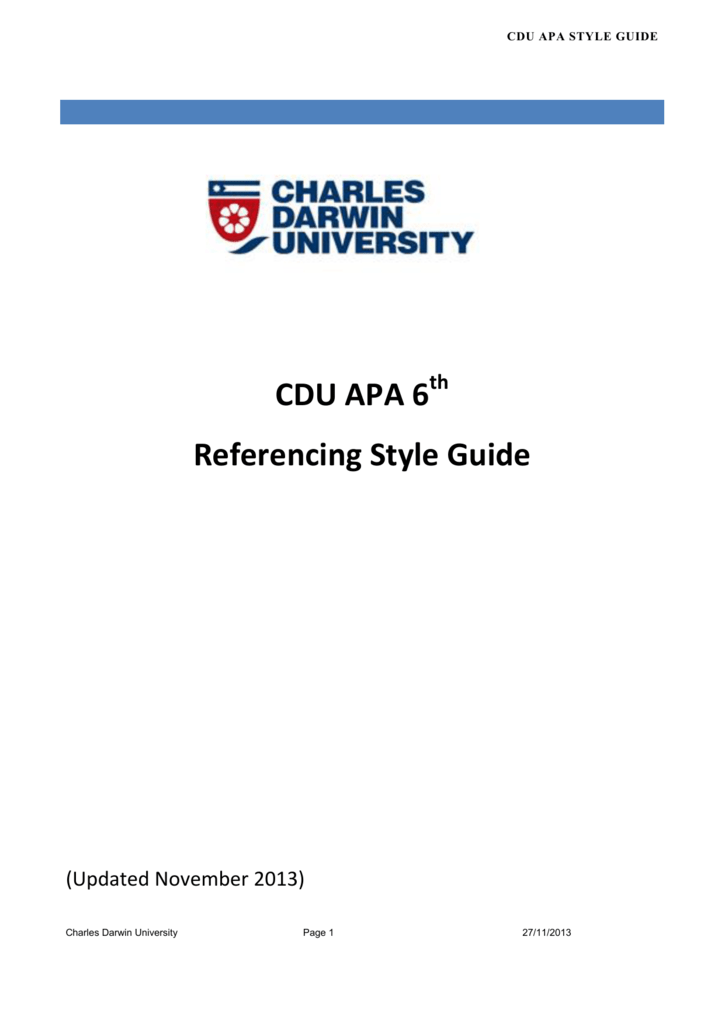 cdu apa 6 referencing style guide