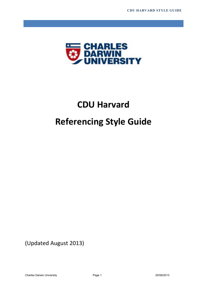 cdu harvard referencing style guide