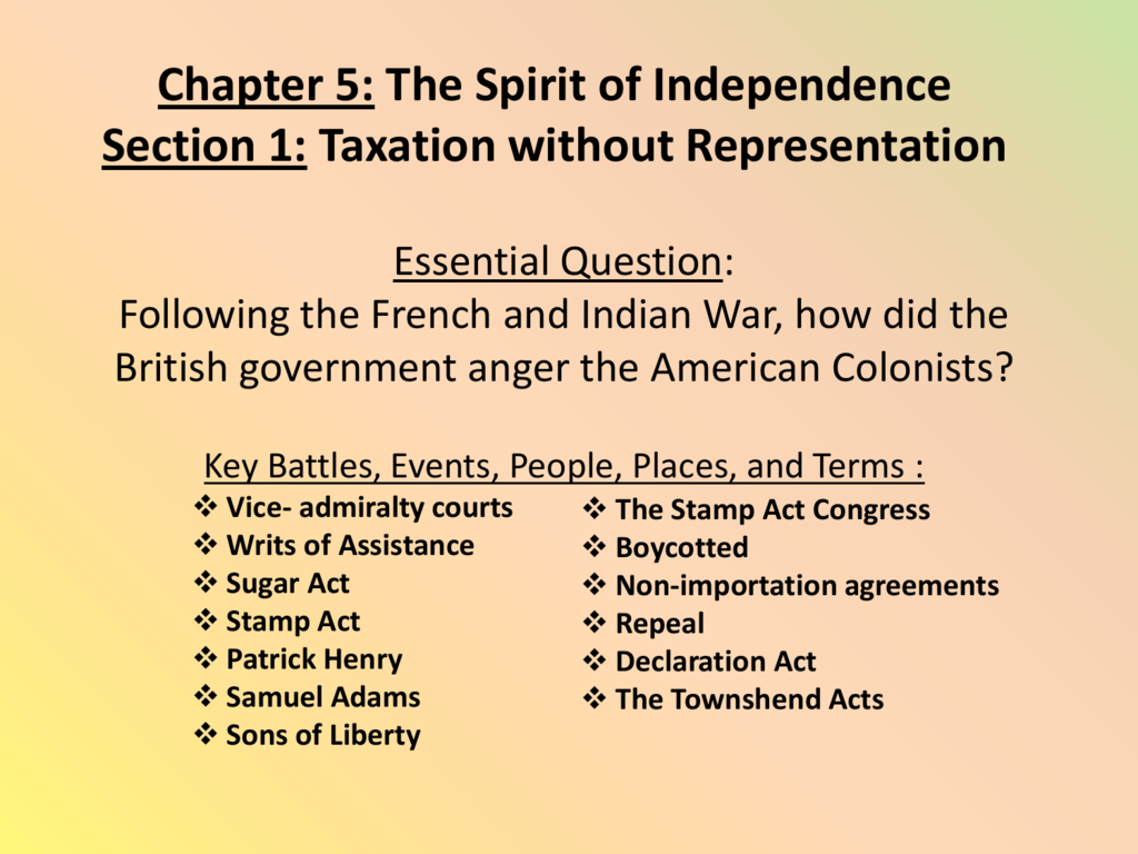Chapter 5 The Spirit Of Independence Section 1 Taxation Without