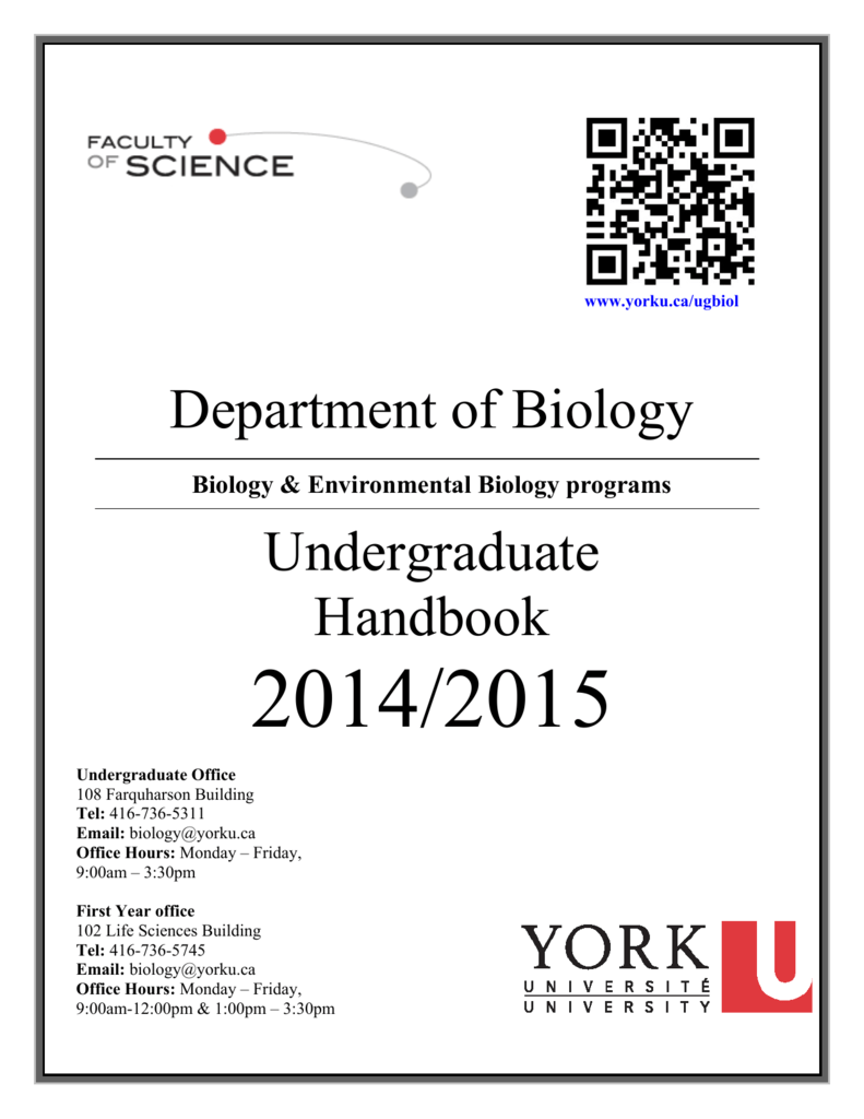 yorku honours thesis biology