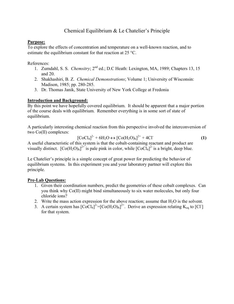 Chemical Equilibrium & Le Chatelier's Principle