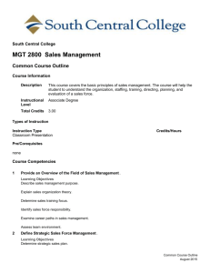 MGT 2800 Sales Management - South Central College eCatalog