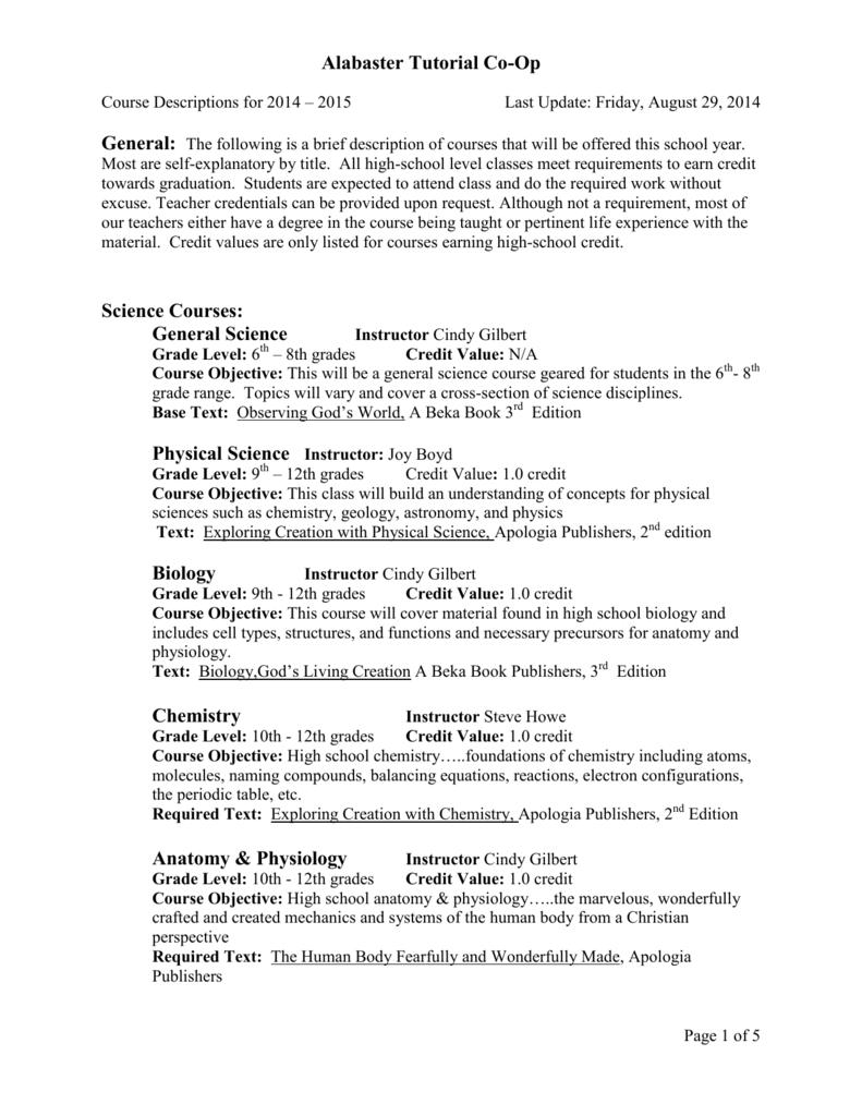 Alabaster Tutorial Co-Op Science Courses: General Science