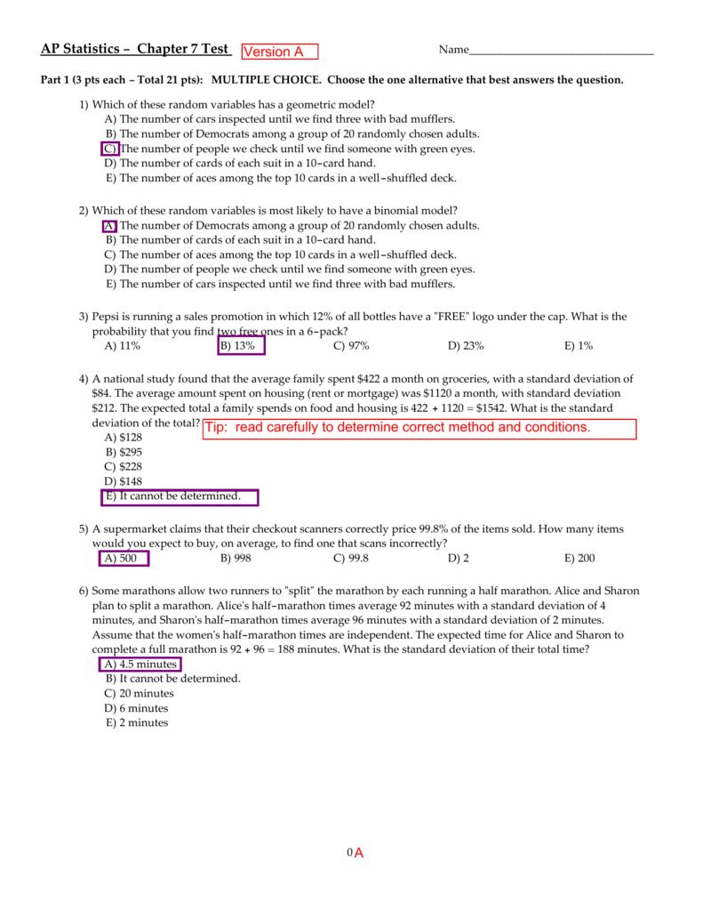 AP Statistics - Chapter 7 Test