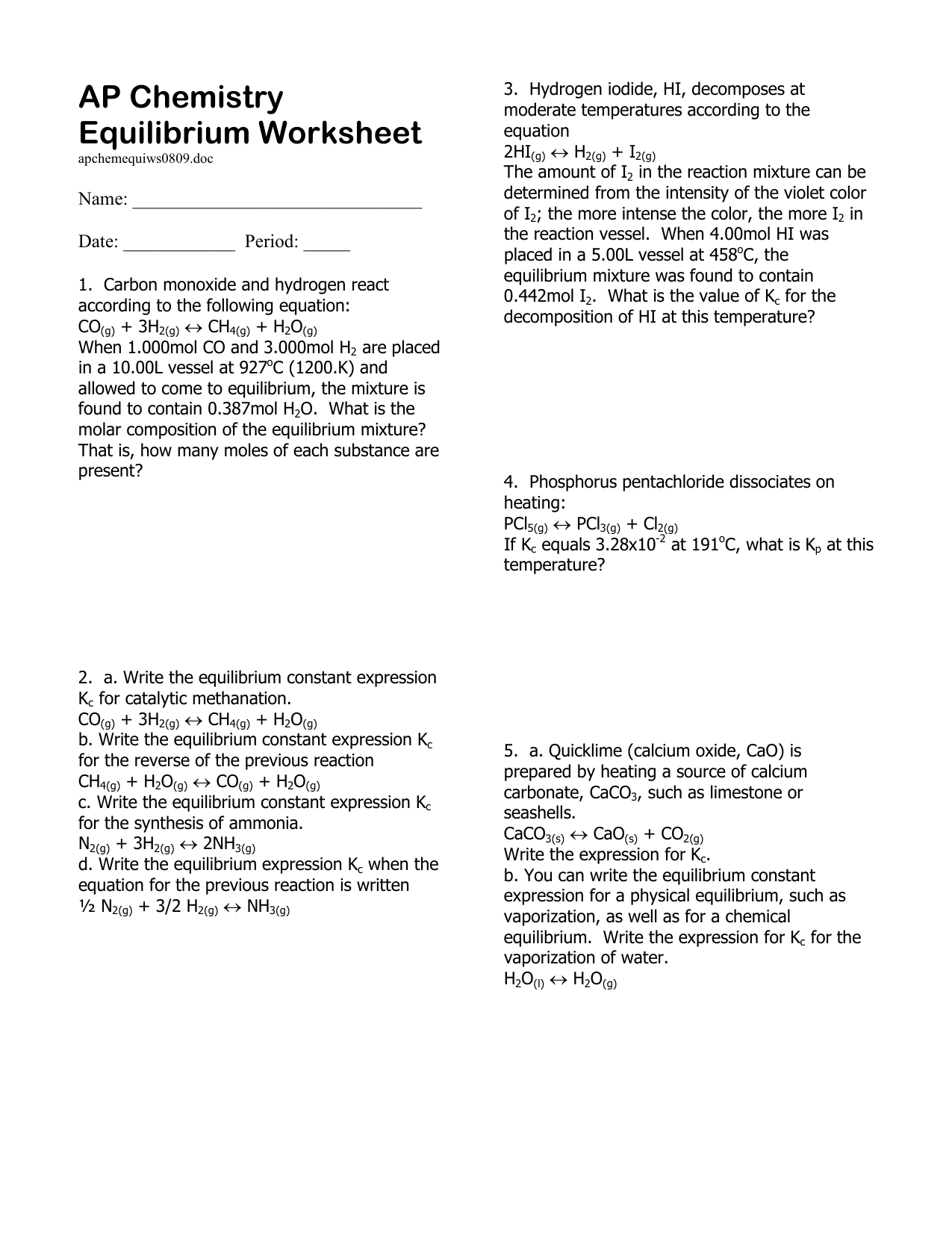 Worksheets Chemical Equilibrium Worksheet pictures equilibrium constant worksheet toribeedesign 008681433 1 058f1b2c64a639a1454d42e3f8bbd858