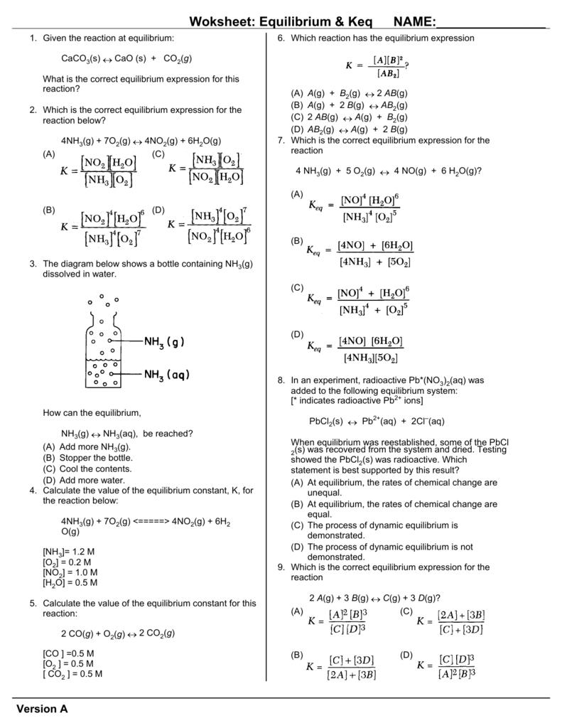 Worksheet: Chemical Equilibrium & Keq