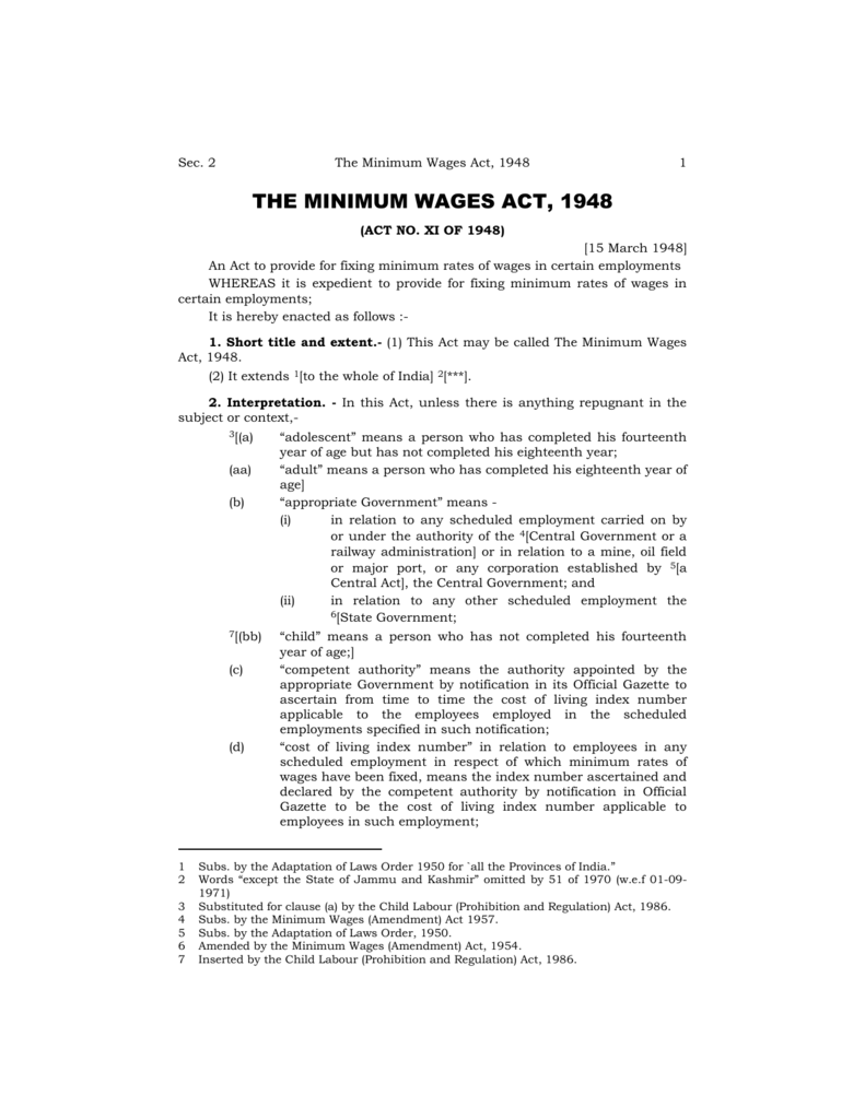 the minimum wages act, 1948 - Mahakamgar Department of Labour