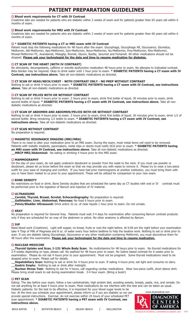 Patient Preparation Guidelines Diagnostic Centers Of America