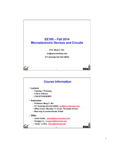 EE105 – Fall 2014 Microelectronic Devices and Circuits Course