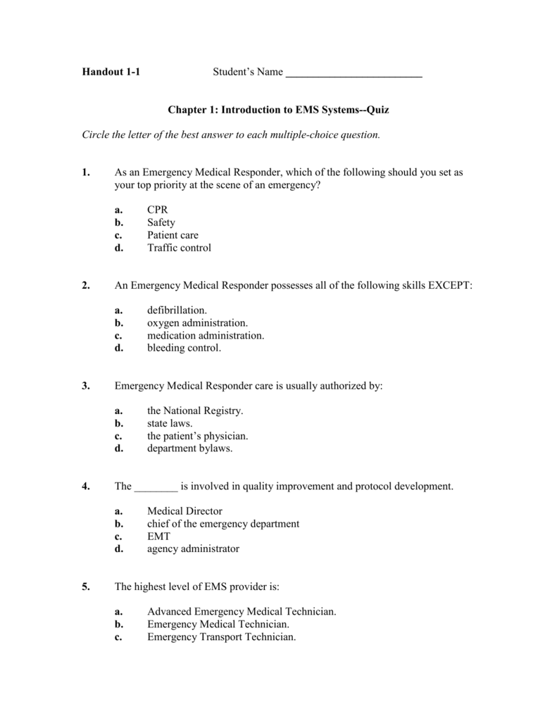 Handout 1-1 Student\'s Name Chapter 1: Introduction to EMS
