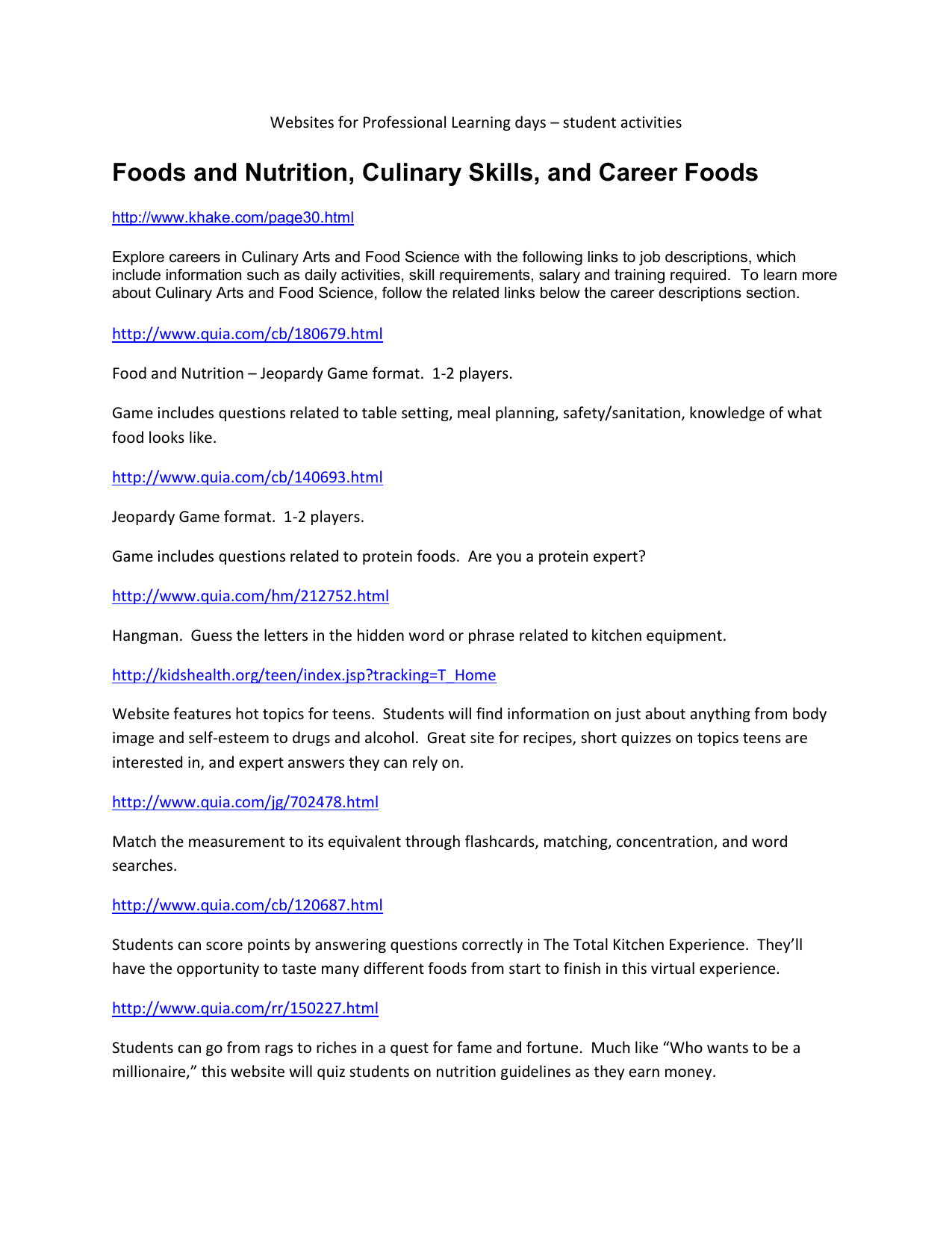 Foods and Nutrition, Culinary Skills, and Career Foods