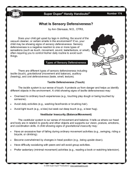 What Is Sensory Defensiveness?