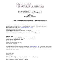 MGMT304-940: Intro to Management Syllabus