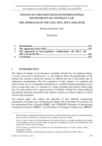 Change of circumstances in international instruments of contract law