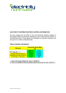 ELECTRICITY DISTRIBUTION PRICE CONTROL INFORMATION